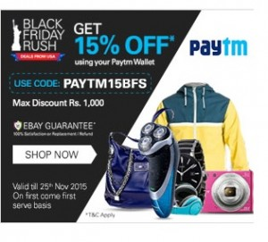 15% Off On All Purchases Made On Ebay.in Using Paytm Wallet