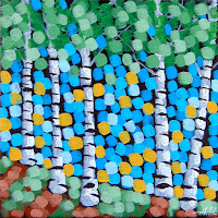 Summer Birches No. 1, aaron kloss, pointillism