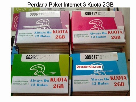 Perdana Paket Internet 3 Kuota 2GB