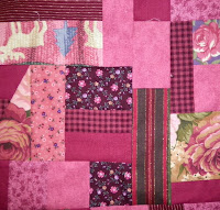 made fabric crazy quilt block maroon