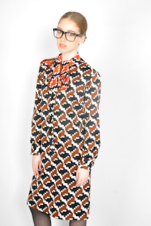 Vintage 1960's geometric print op-art Lanvin dress with bow neckline.