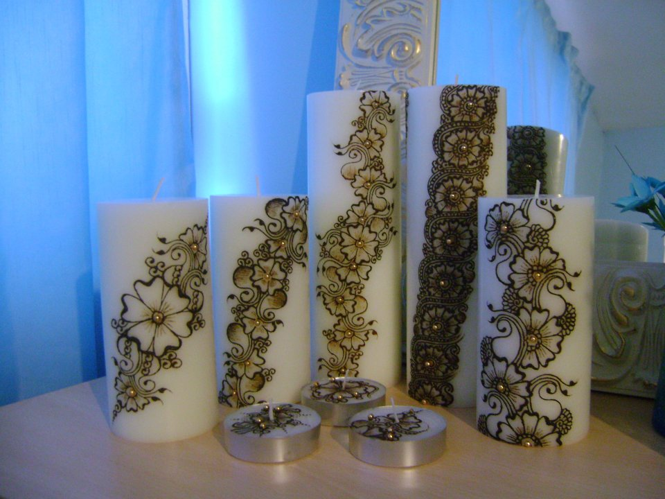 Mehndi For Candles : Mehndi designs on candles all about fashion