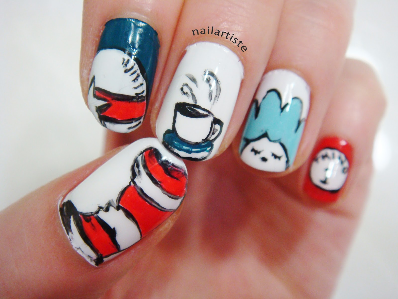The Nail Artiste Nail Art The Cat In The Hat For Makeup Savvy Nail