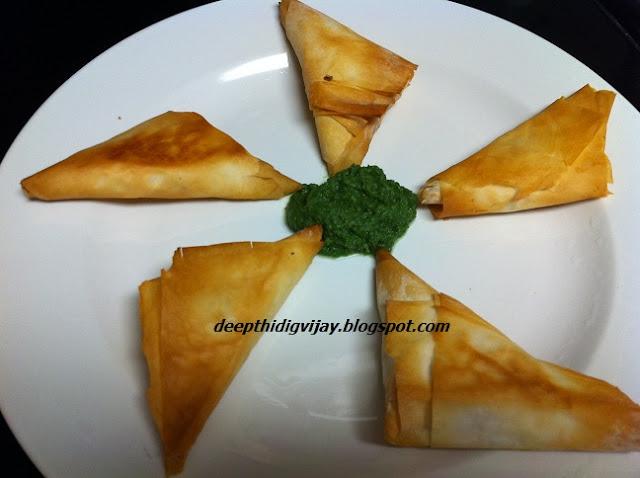 Good Food Recipes: Phyllo / filo/ fillo dough tasty triangles / samosa ...