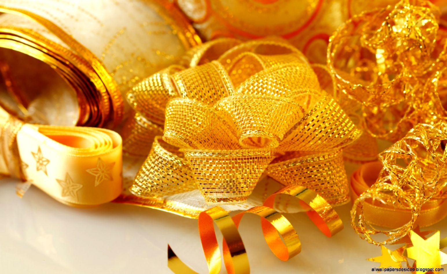 Stars Bow Ribbons Gold Holiday Christmas Winter Hd Wallpaper