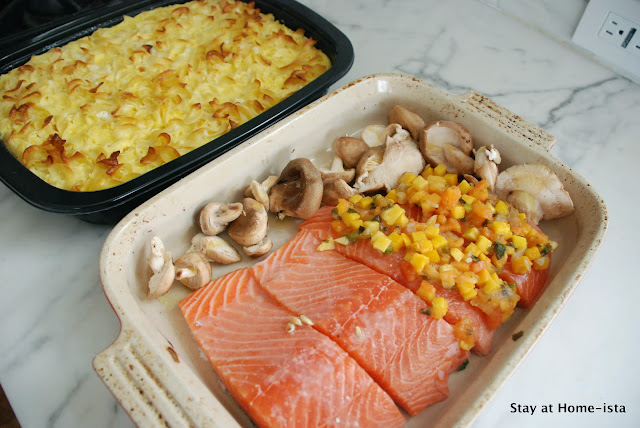 salmon with mango salsa, and mushrooms on the side. Cook an entire dinner in one pan!
