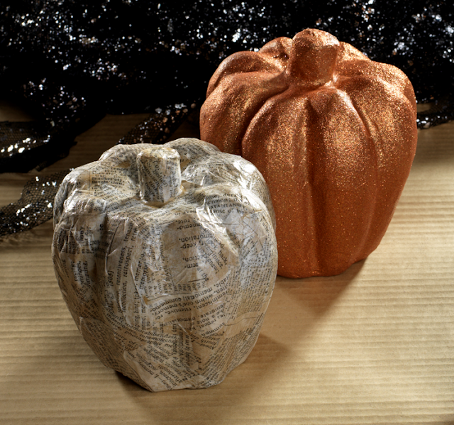Paper Mache Pumpkin Diy @craftsavy, #craftwarehouse, #modpodge, #diy, #glitter