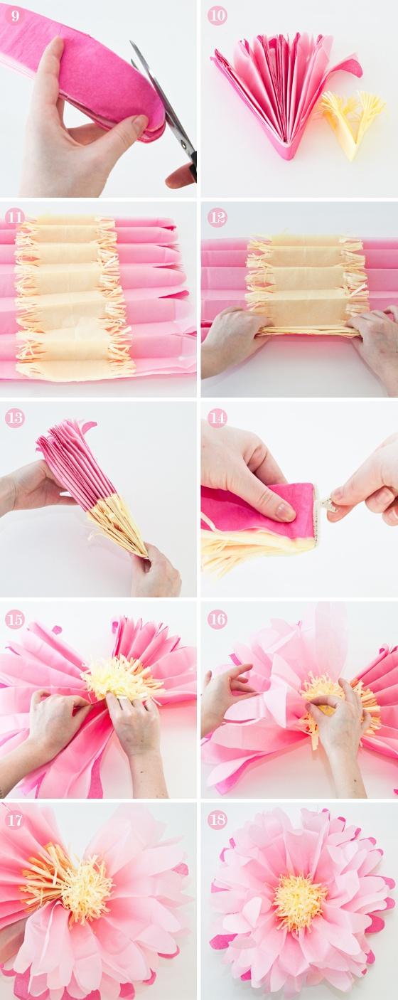 como fazer pompom papel de seda passo a passo