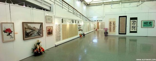 Exposición de textos en chino y pinturas orientales