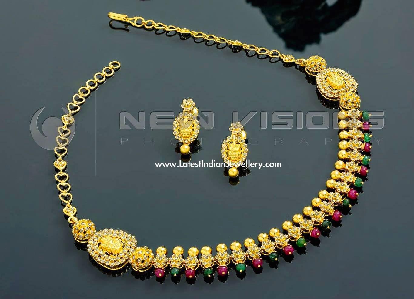 Uncut Diamond Ruby Emerald Necklace