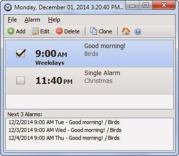 صورة من داخل برنامج المنبه Free Alarm Clock 3.1