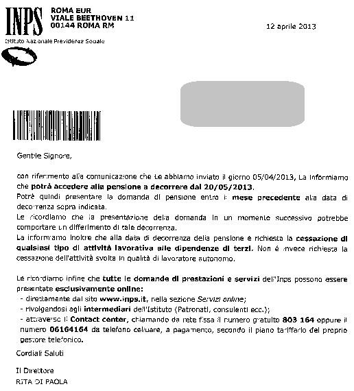 Lettere Di Lavoro: Postali Esodati: Lettere Con Data Di Accesso Alla Pensione