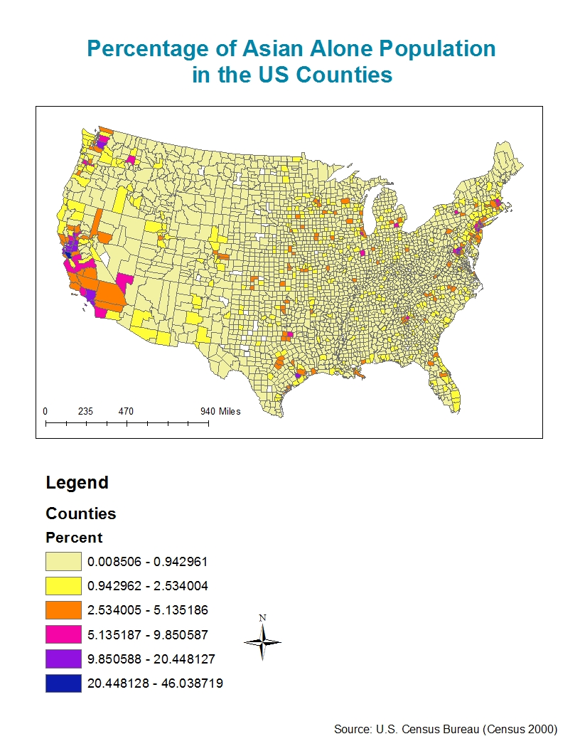 as this map suggests the distribution of asians in the united states is not so even in other words asians are grouped in certain regions