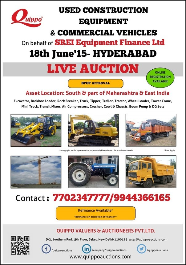 Live Auction SREI Equipment Finance Ltd 18th June HYDERABAD Used ...