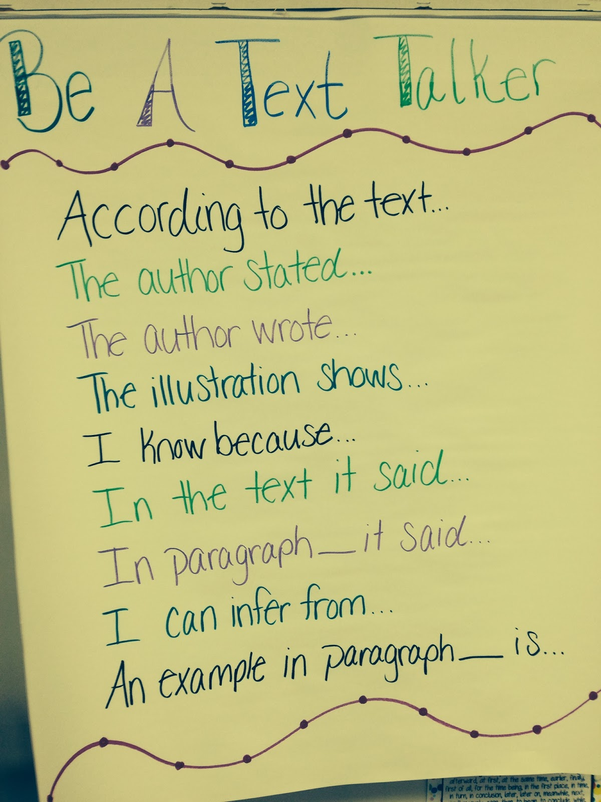 Trendy Tales of a Teacher: Be a Text Talker Anchor Chart