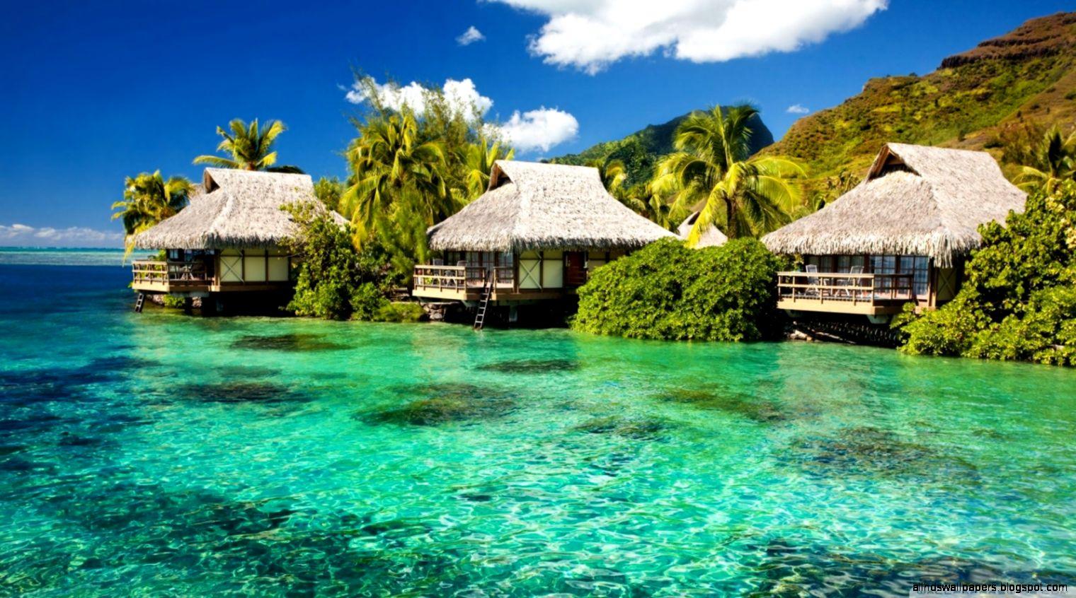 Water Bungalows On A Tropical Island HD desktop wallpaper  High