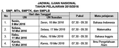 Jadwal UN Utama dan Susulan SMP/MTs/SMPTK/SMPLB  tahun 2016