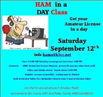 9-12 Ham In A Day Class