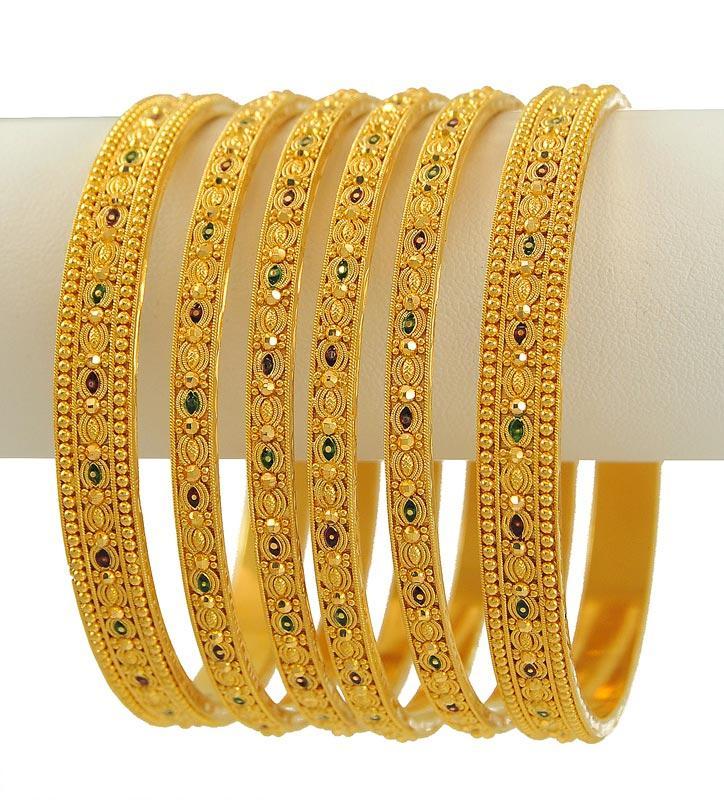 Latest jewellery designs: MeenaKari Bangles Set