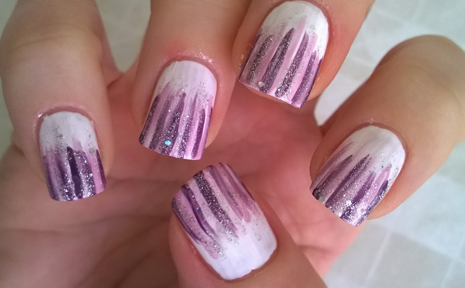 Life world women waterfall nail art white based lilac and waterfall nail art white based lilac and silver glitter nail design prinsesfo Images