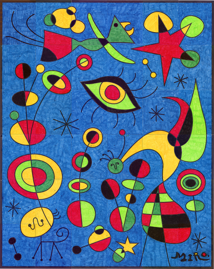 Line Art Mural : Budding artists joan miro