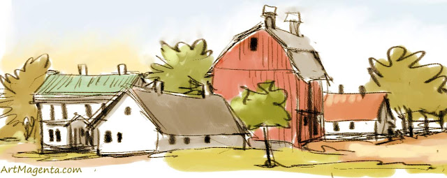 Farmer's place is a sketch by artist and illustrator Artmagenta
