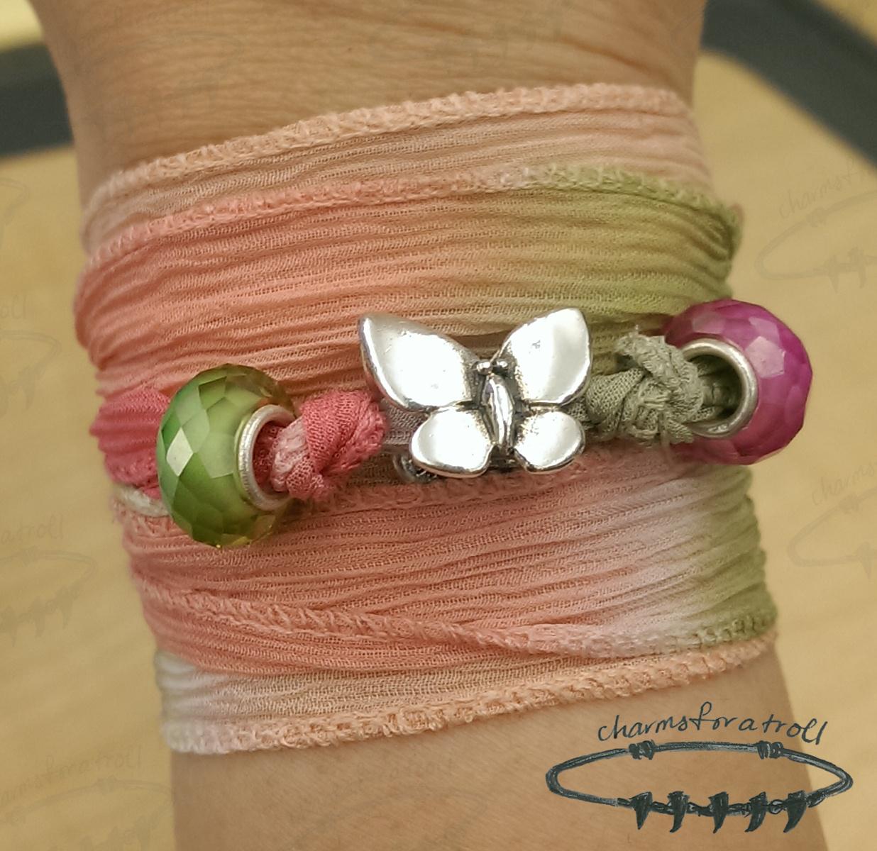 Trollbeads Fantasy Butterfly, Novobeads Wild Rose Silk Wrap, Novobeads Key Lime Mini CZ, Novobeads Pink Lemonade Mini CZ