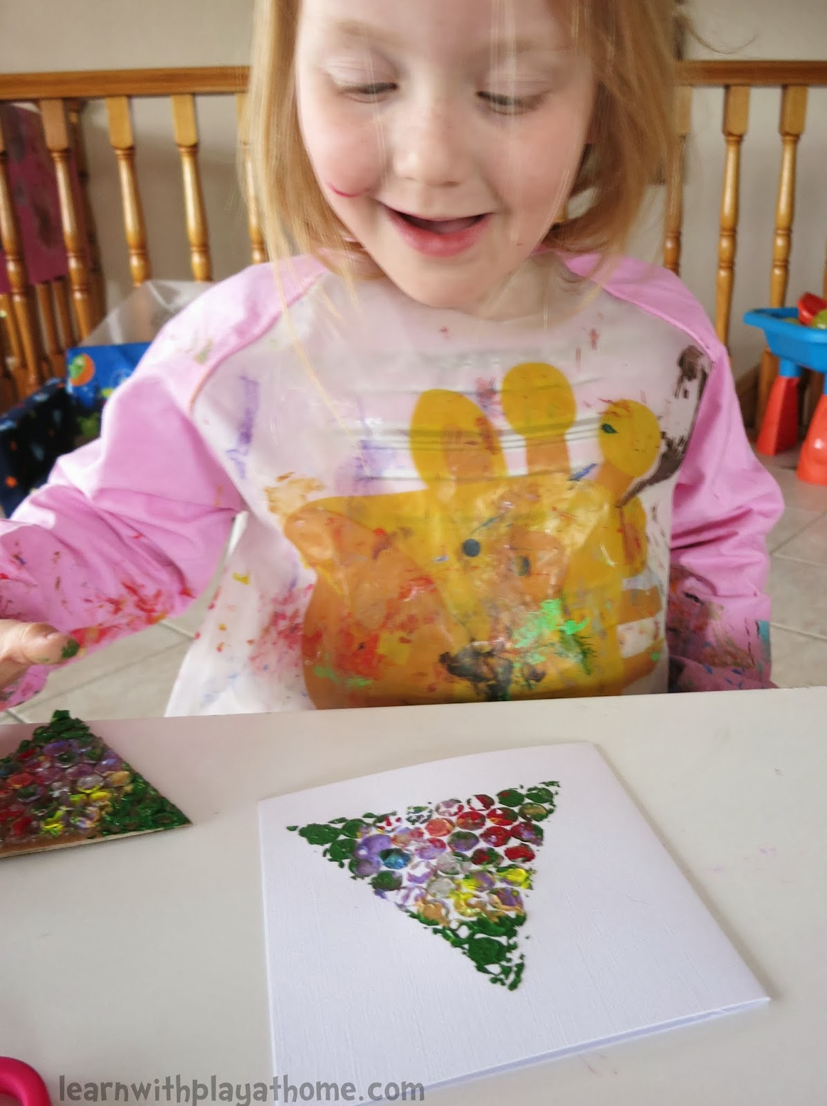 Learn With Play At Home Simple Bubblewrap Christmas Cards