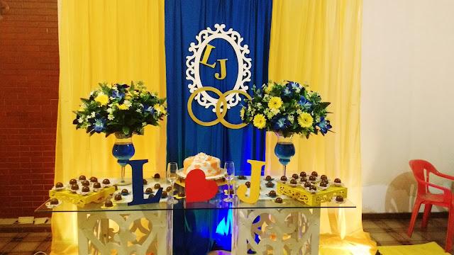 decoracao azul e amarelo noivado:este foi o resultado de uma decoração simples, improvisada. A