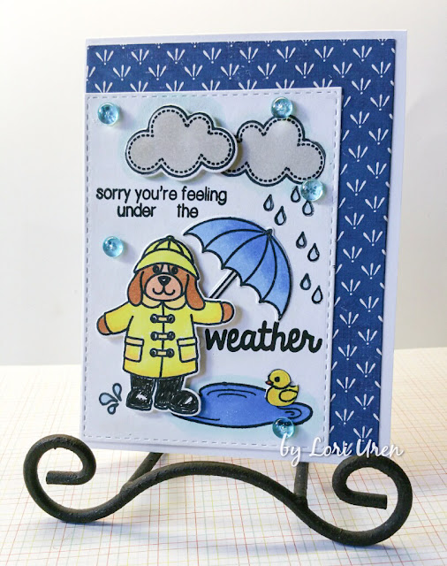 Sunny Studio: Sorry You're feeling Under The Weather Card by Lori Uren (using Rain or Shine stamp set).