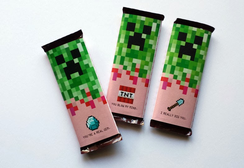 minecraft valentines day candy bar wrappers