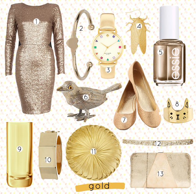 collage of gold colour items, including fashion and jewellery