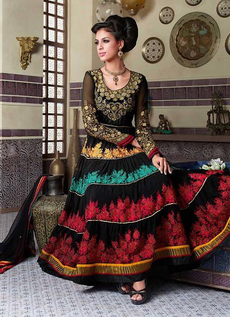 Latest Style of Long Floor Length Frocks Anarkali Suit