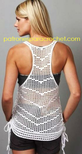 Musculosa escotada en espalda para tejer al crochet