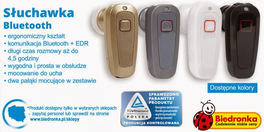 Słuchawka Bluetooth z Biedronki ulotka