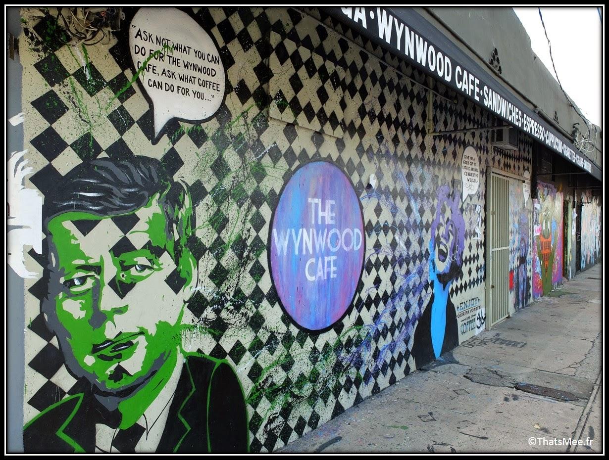 Kennedy et Marilyn Monroe Street ARt Wynwood Art District café Miami