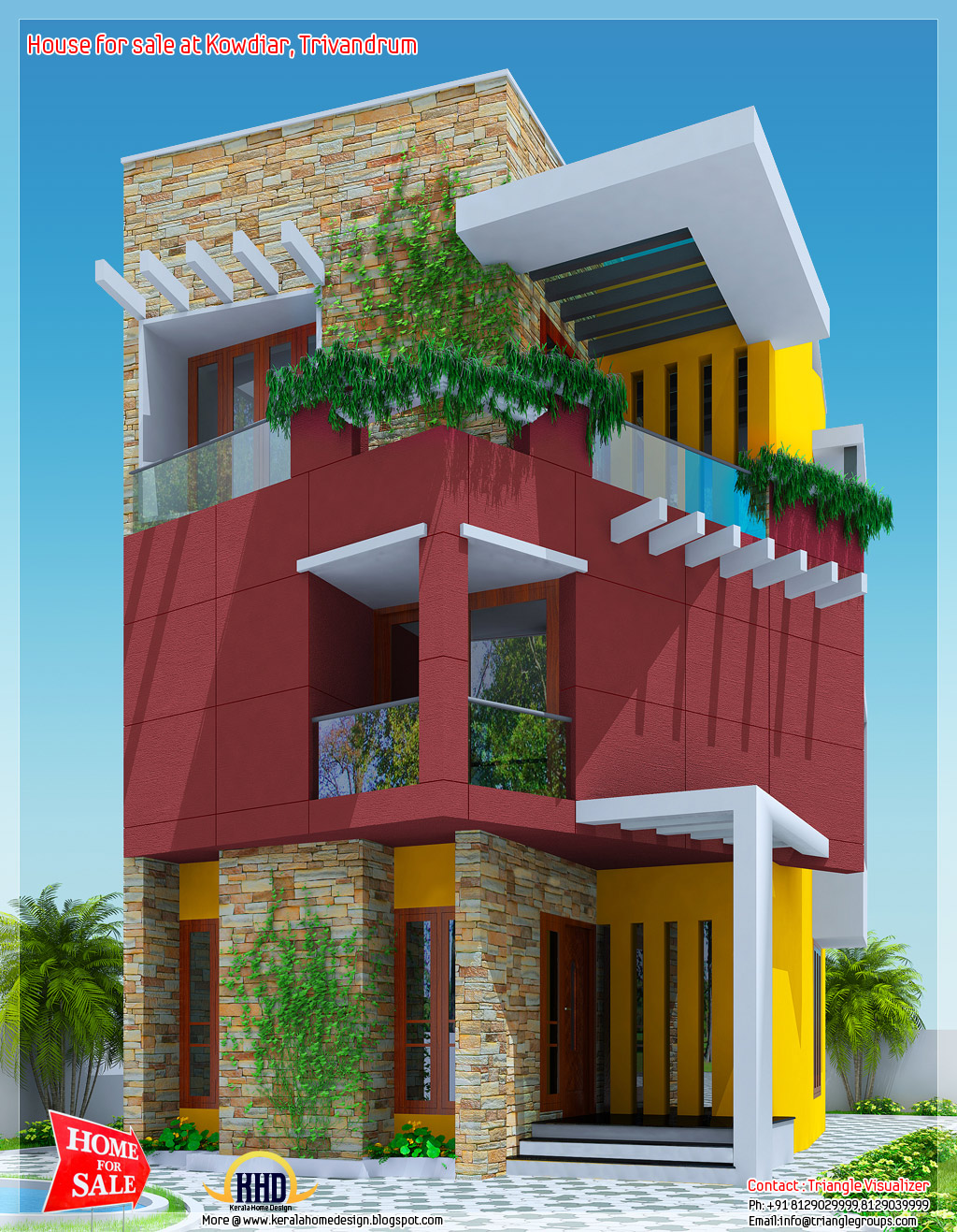 3 floor house for sale at kowdiar trivandrum kerala for Architect house plans for sale