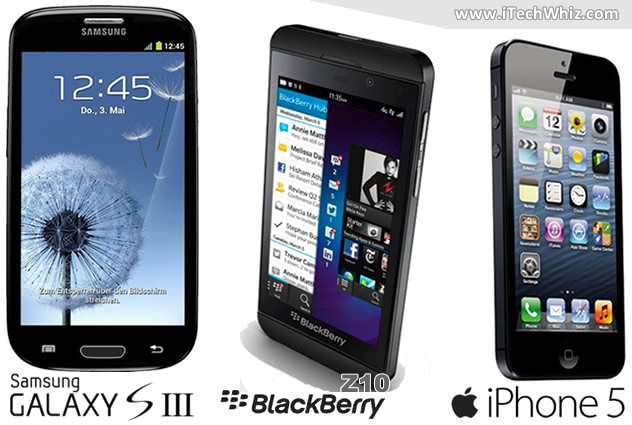 Samsung GS3 vs Blackberry Z10 vs iPhone 5 Review and Specs Charts