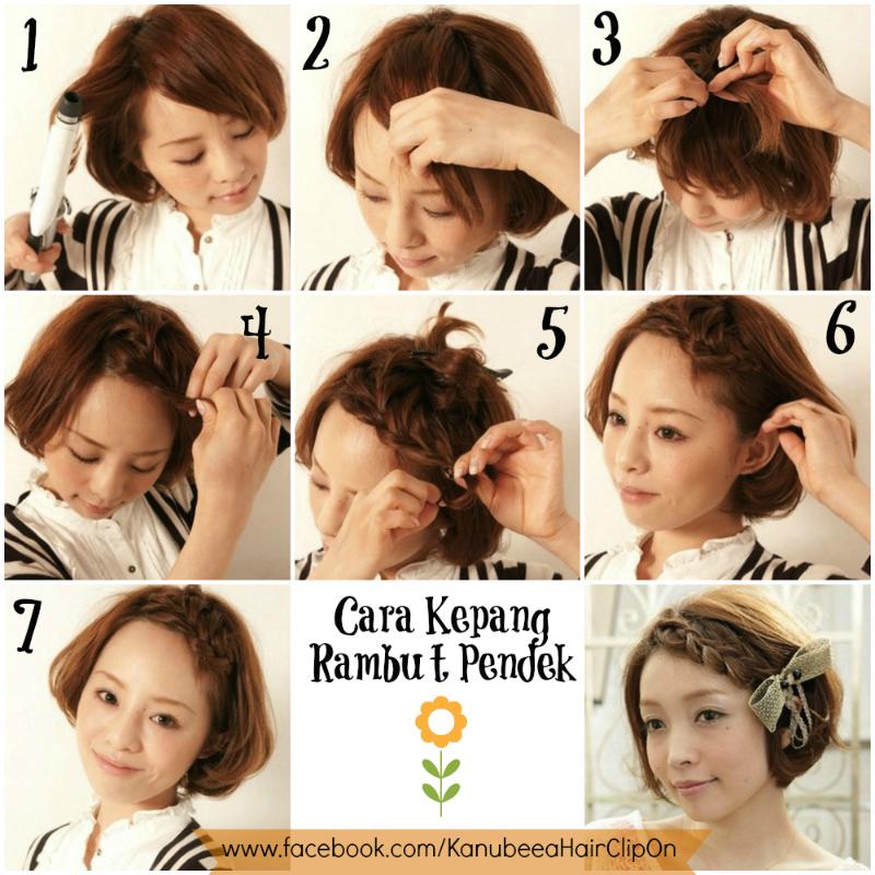 Kanubeea Hair Clip Tutorial Cara Kepang Rambut Pendek - Gaya rambut pendek kepang