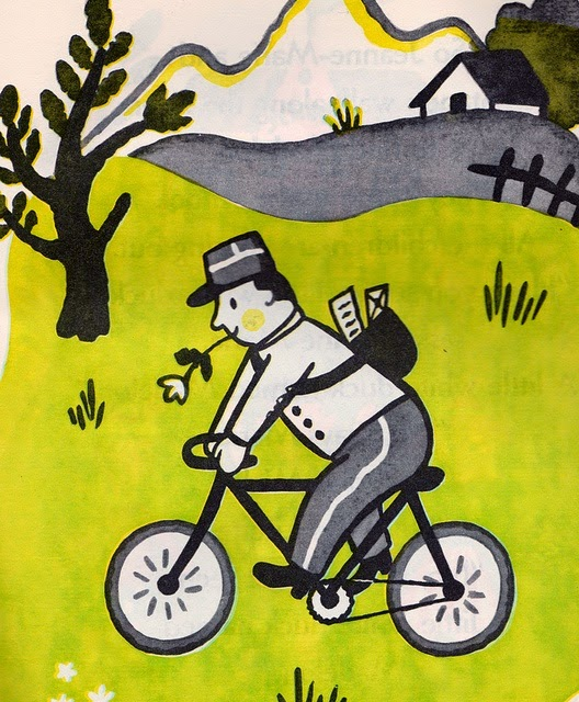spring time illustration by Francoise Seignobosc postman on a bicycle