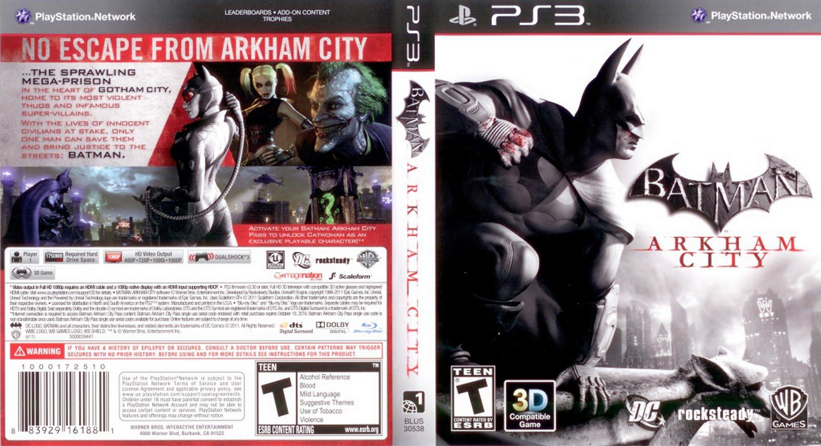 Caratula de Batman - Arkham City PlayStation 3 (DVD) ~ Super ...