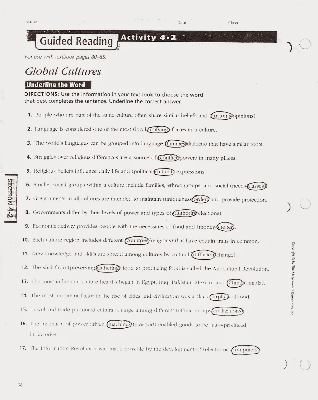 Worksheets Glencoe World Geography Worksheets mr es world geography page chapter 4 guided reading 1