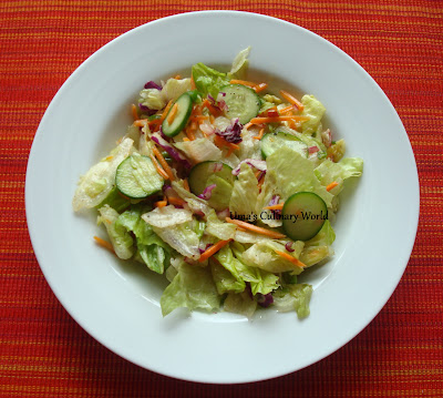 lettuce cucumber salad with orange vinaigrette
