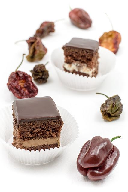 Chocolate chili cake cubes blog shot