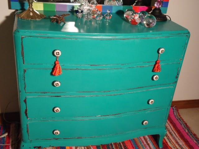 Vintouch muebles reciclados pintados a mano comoda francesa turquesa 4 cajones tiradores - Tiradores para cajones ...