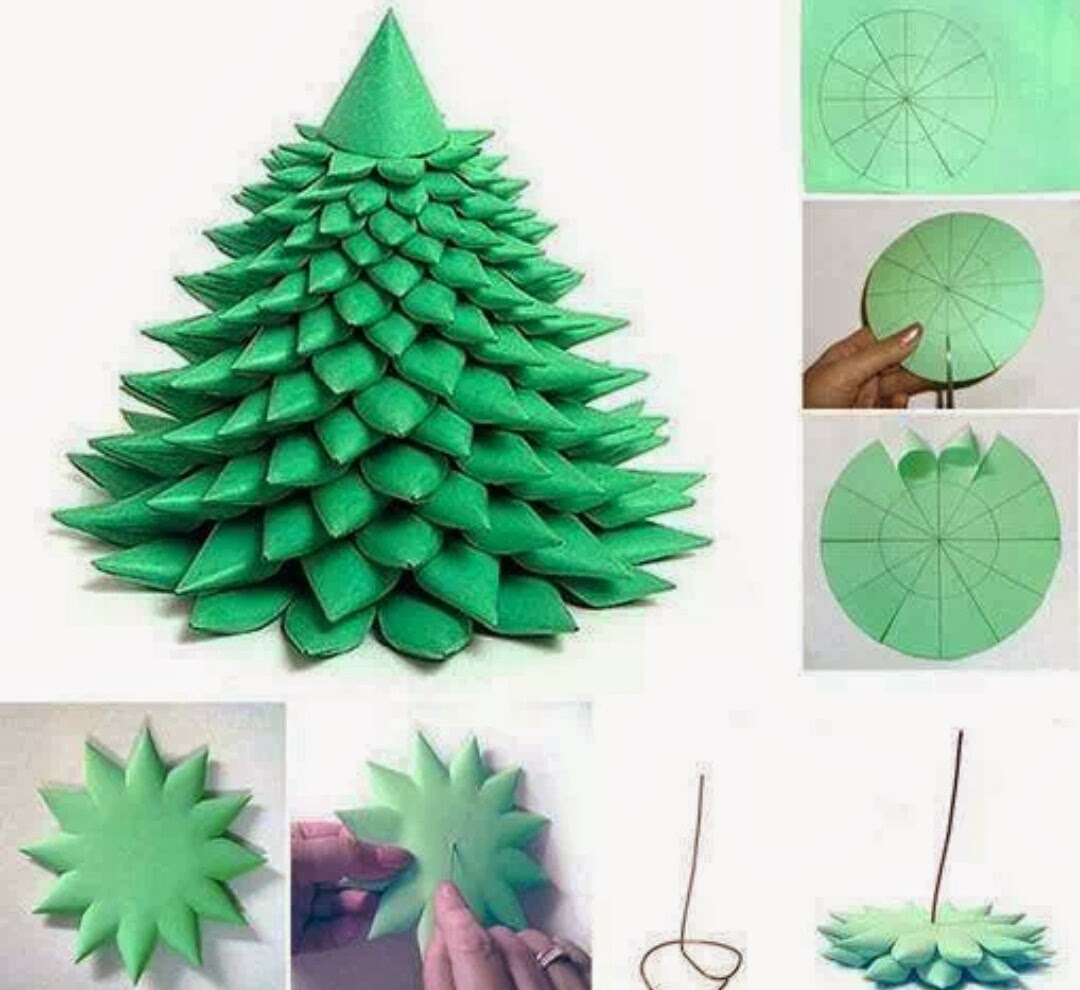 Easy homemade paper christmas decorations - Here Is A Simple And Fun Paper Craft To Make Christmas Tree Which Looks Puffy Enough For Festive Decoration It S Is Really Easy To Make By Cutting And