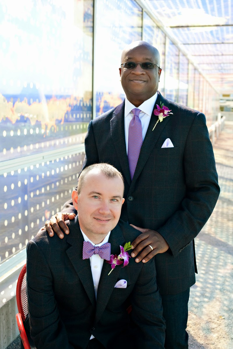 Barry and Robert at the Cloud Cover wall at the Olympic Sculpture Park - Patricia Stimac, Seattle Wedding Officiant