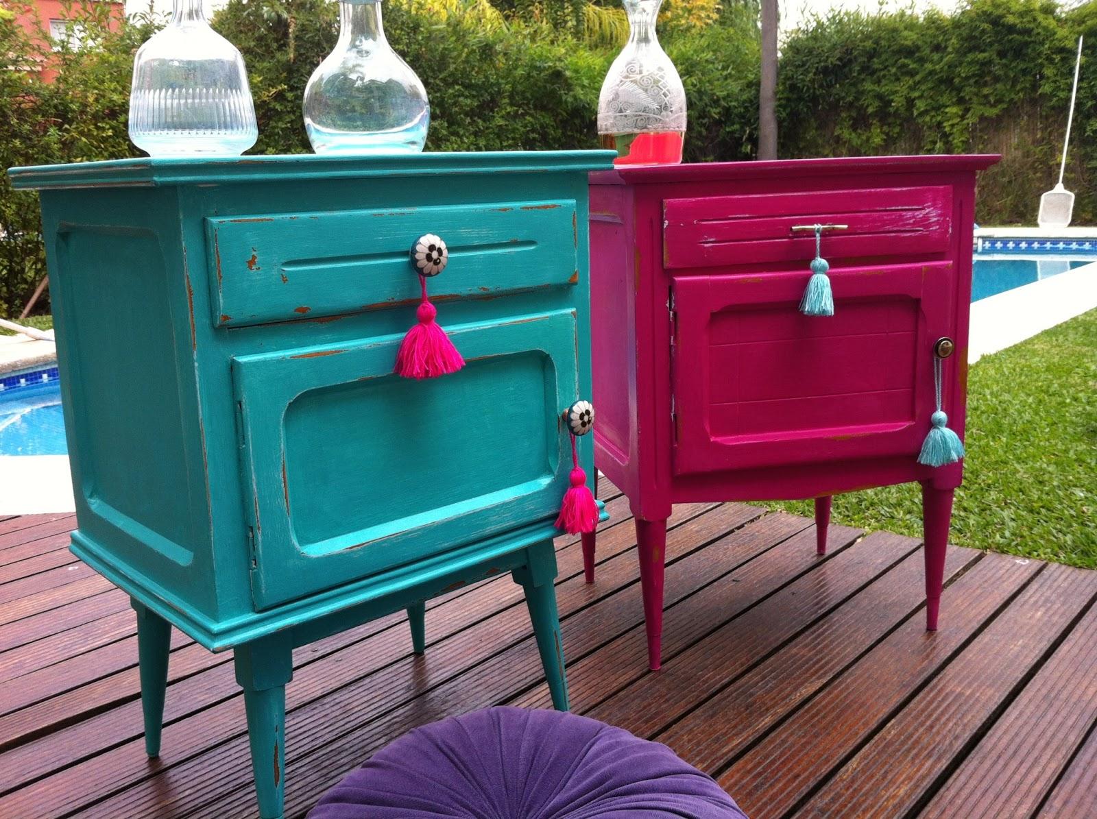 Vintouch muebles reciclados pintados a mano mesa de for Colores vintage para muebles