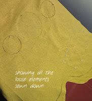 back stitching on cushion front