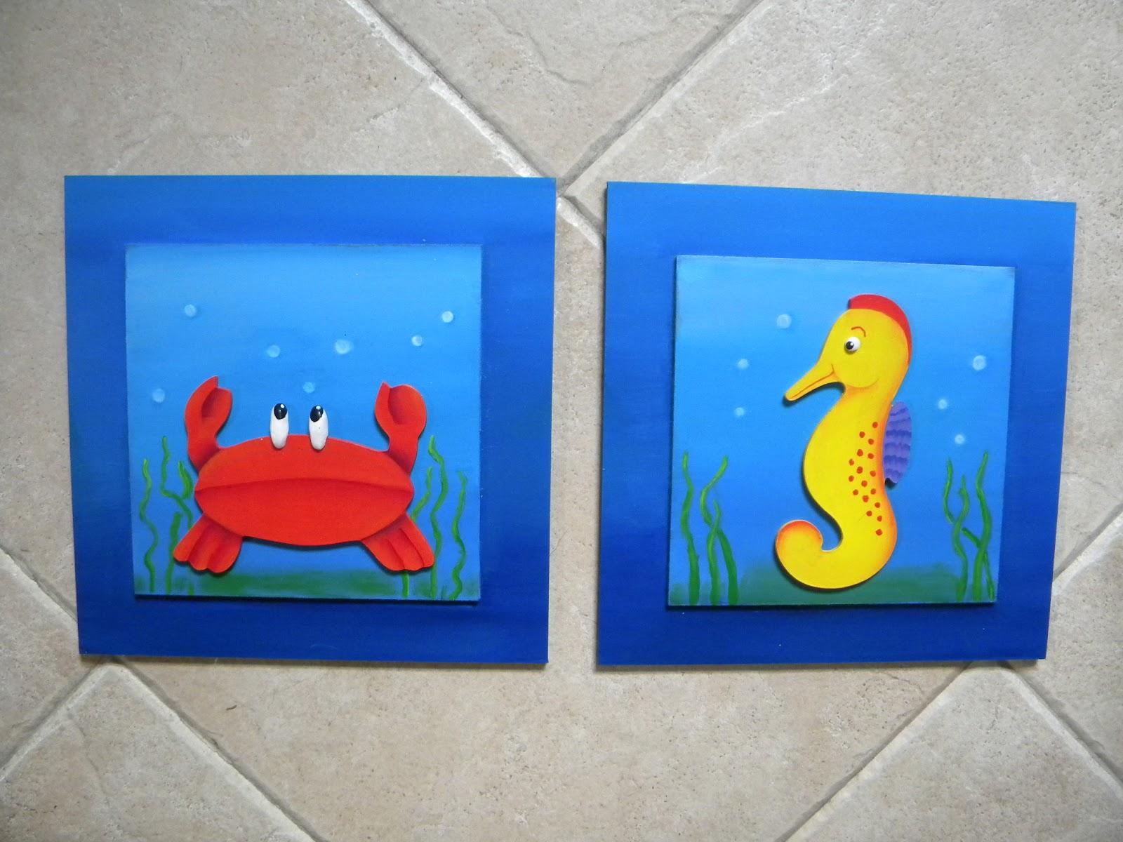 T a pata deco arte cuadros de animales marinos - Cuadros para el bano modernos ...